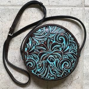 Patricia Nash Turquoise Tooled Leather Round Bag